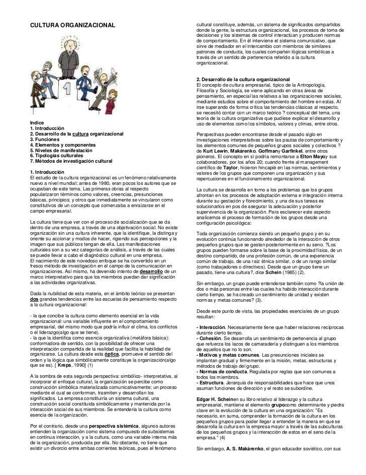 CULTURA ORGANIZACIONAL  Indice1. Introducción2. Desarrollo de la cultura organizacional 3. Funciones4. Elementos y compone...