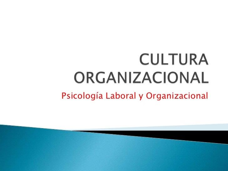CULTURA ORGANIZACIONAL<br />Psicología Laboral y Organizacional<br />