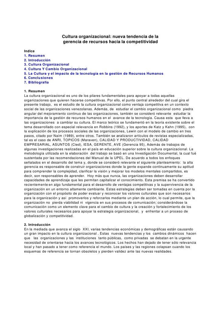 Cultura organizacional: nueva tendencia de la                      gerencia de recursos hacia la competitividadIndice1. Re...
