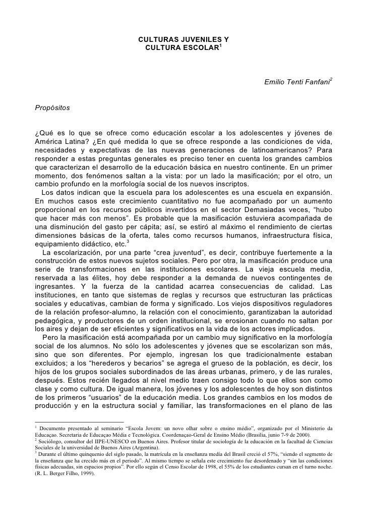 CULTURAS JUVENILES Y                                               CULTURA ESCOLAR1                                       ...