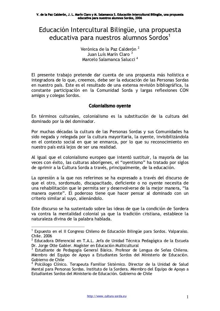 V. de la Paz Calderón, J. L. Marín Claro y M. Salamanca S. Educación Intercultural Bilingüe, una propuesta                ...
