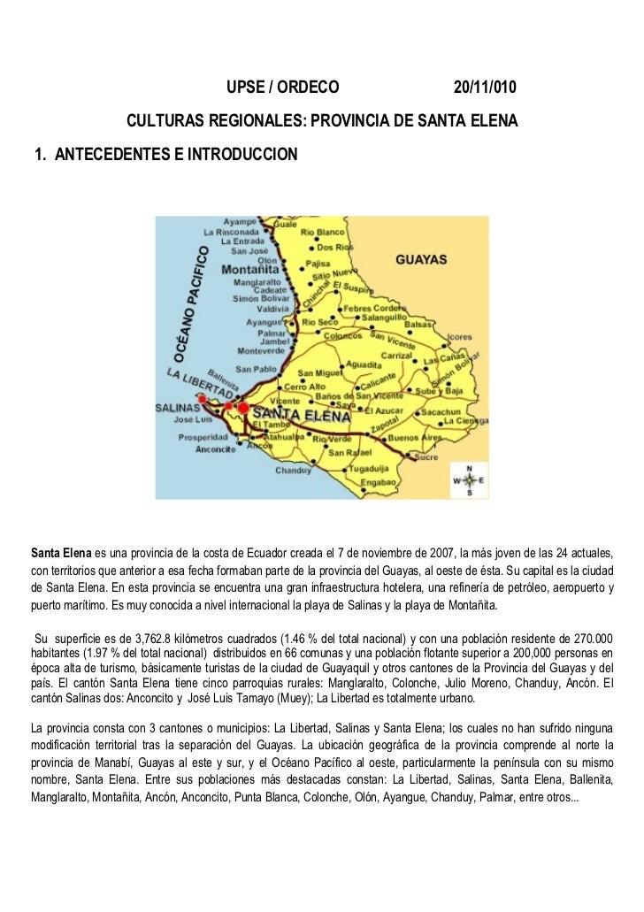 UPSE / ORDECO                                    20/11/010                    CULTURAS REGIONALES: PROVINCIA DE SANTA ELEN...