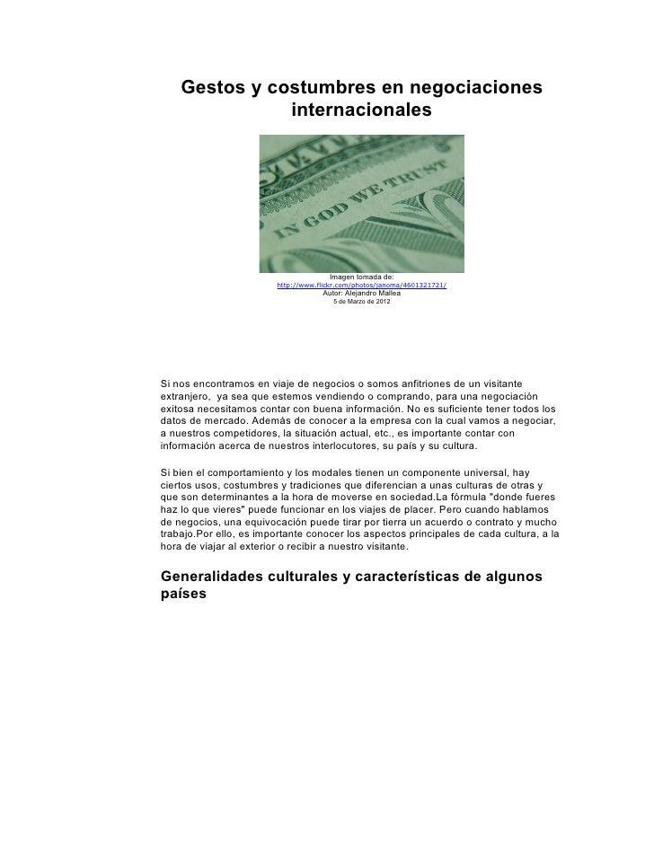 Gestos y costumbres en negociaciones               internacionales                                       Imagen tomada de:...