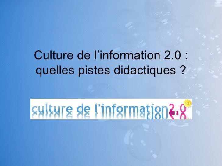 Culture de l'information 2.0 : quelles pistes didactiques