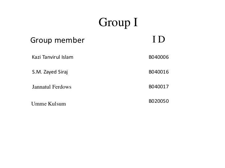 Group IGroup member                     IDKazi Tanvirul Islam             B040006S.M. Zayed Siraj                B040016Ja...
