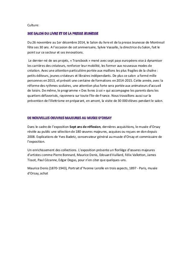 Culture:  Du 26 novembre au 1er décembre 2014, le Salon du livre et de la presse Jeunesse de Montreuil fête ses 30 ans. A ...
