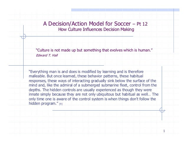 """A Decision/Action Model for Soccer – Pt 12 How Culture Influences Decision Making  """"Culture is not made up but something t..."""