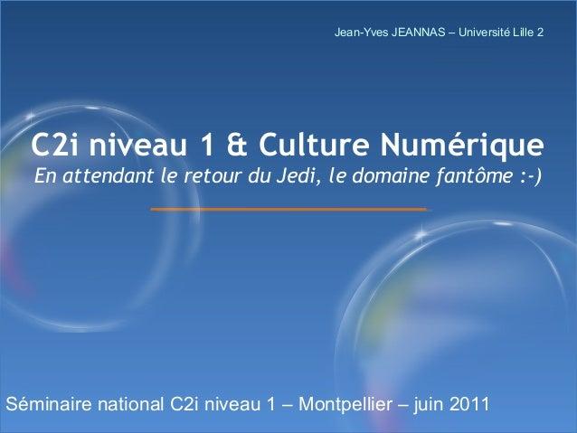 Jean-Yves JEANNAS – Université Lille 2  C2i niveau 1 & Culture Numérique En attendant le retour du Jedi, le domaine fantôm...