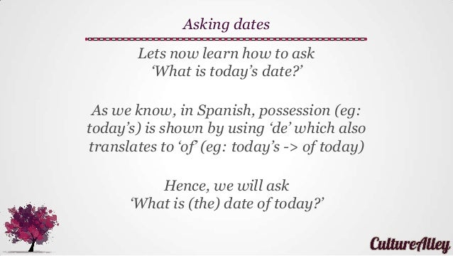 Todays date in spanish in Perth