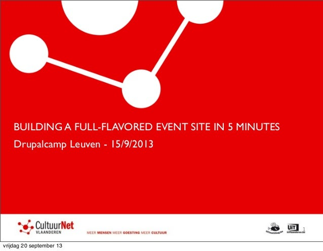 BUILDING A FULL-FLAVORED EVENT SITE IN 5 MINUTES Drupalcamp Leuven - 15/9/2013 1 vrijdag 20 september 13
