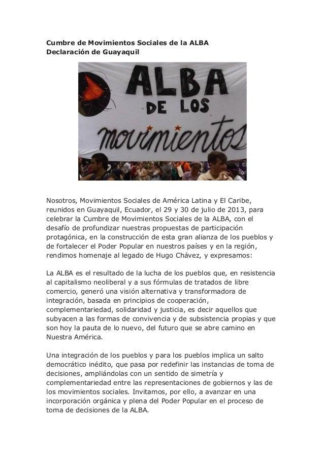 Declaración de Guayaquil. Cumbre de Movimientos Sociales de la ALBA