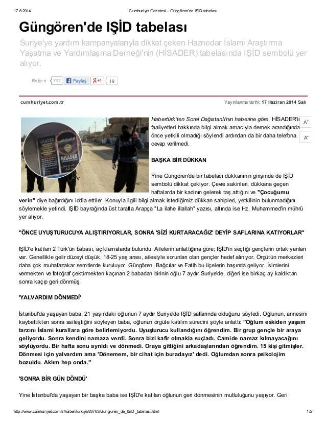 17 6 2014 Cumhuriyet Gazetesi - Güngören'de IŞİD tabelası http://www.cumhuriyet.com.tr/haber/turkiye/83763/Gungoren_de_ISi...
