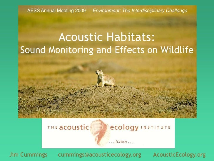 AESS Annual Meeting 2009     Environment: The Interdisciplinary Challenge<br />Acoustic Habitats:Sound Monitoring and Effe...