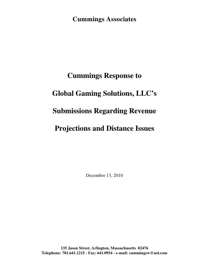Cummings response to global gaming