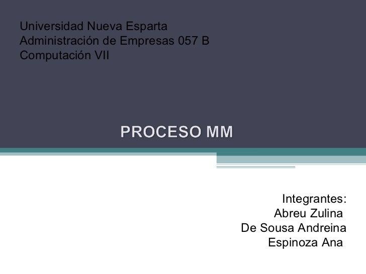 Universidad Nueva Esparta  Administración de Empresas 057 B Computación VII Integrantes: Abreu Zulina  De Sousa Andreina E...