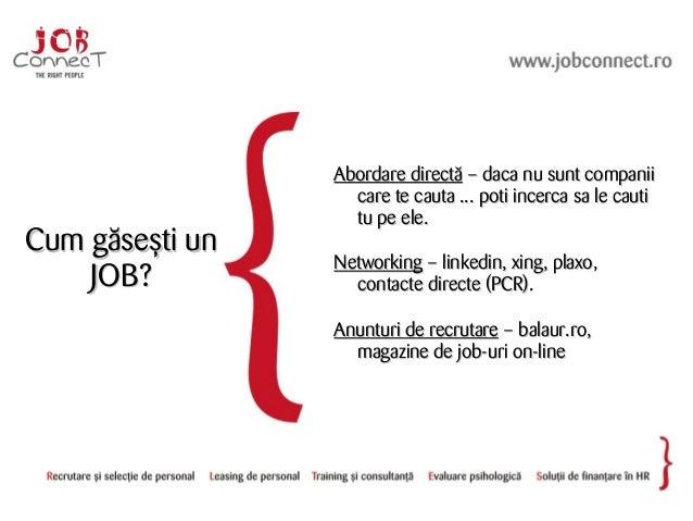 Cum găsești unCum găsești un JOB?JOB? Abordare directăAbordare directă – daca nu sunt companii– daca nu sunt companii care...