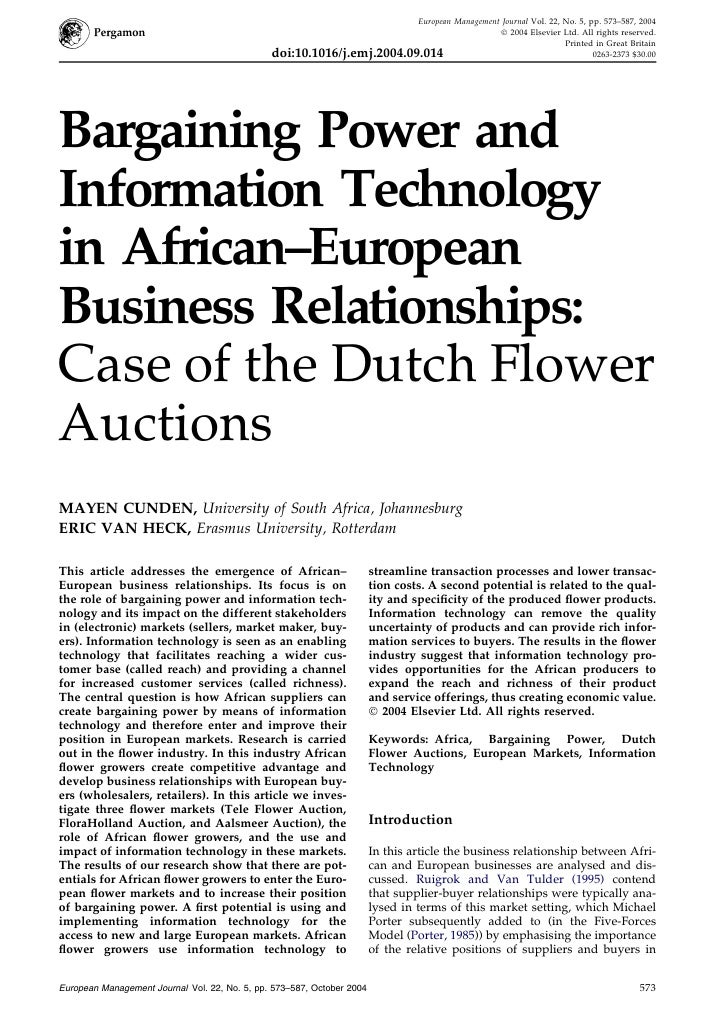 Bargaining Power and Information Technology in Afrcan-European Business Relationships