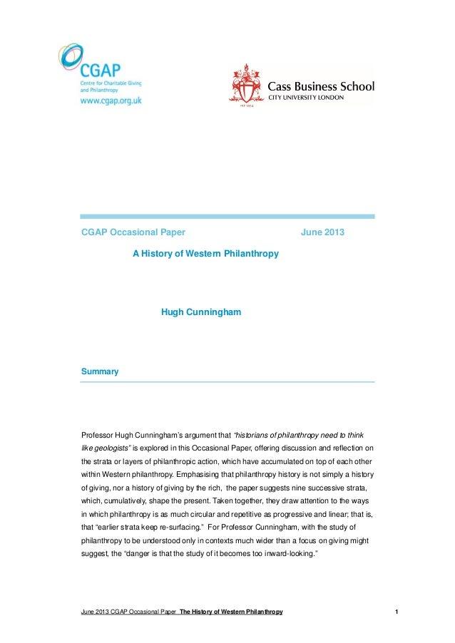 CGAP Occasional Paper  June 2013  A History of Western Philanthropy  Hugh Cunningham  Summary  Professor Hugh Cunningham's...