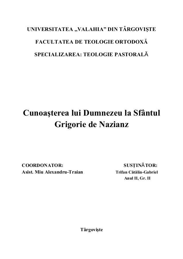 Cunoasterea lui dumnezeu la sf. grigorie de nazianz2003