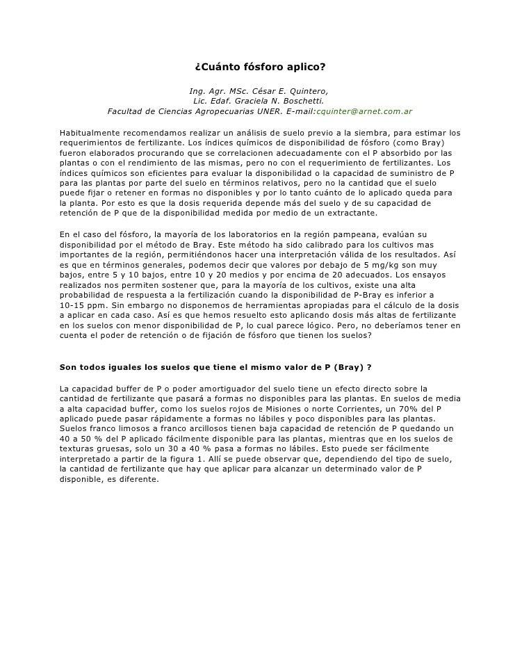 ¿Cuánto fósforo aplico?                                Ing. Agr. MSc. César E. Quintero,                                Li...