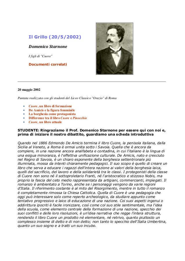 """Il Grillo (20/5/2002) Domenico Starnone I figli di """"Cuore"""" Documenti correlati 20 maggio 2002 Puntata realizzata con gli s..."""