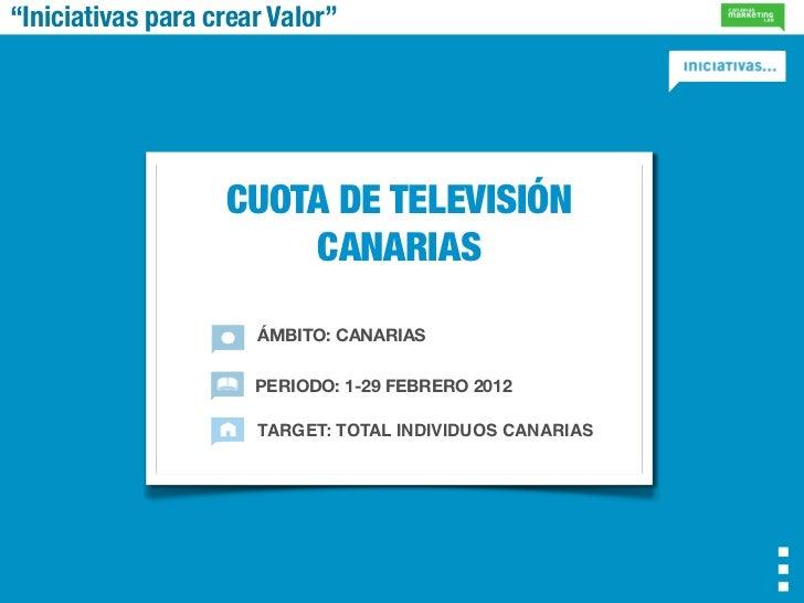 """""""Iniciativas para crear Valor""""                   CUOTA DE TELEVISIÓN                       CANARIAS                      Á..."""