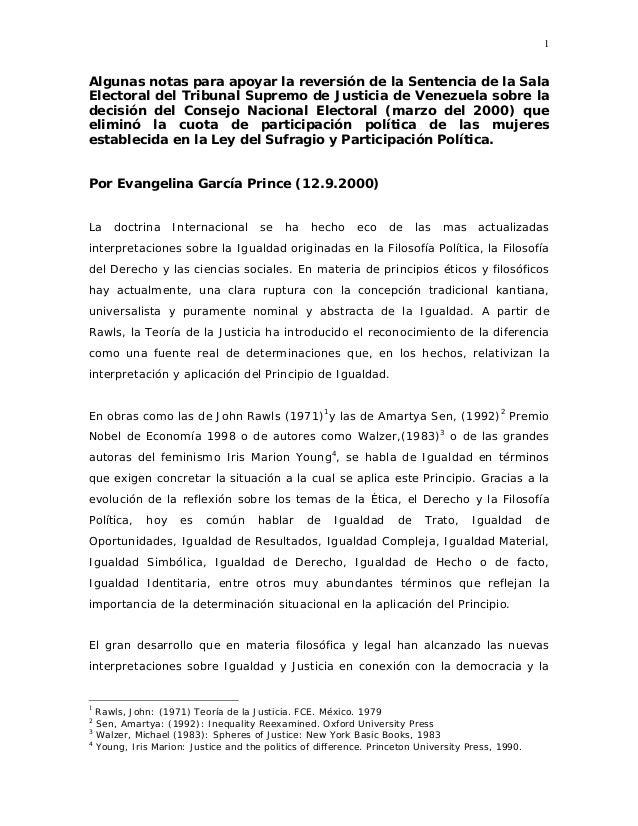 1 Algunas notas para apoyar la reversión de la Sentencia de la Sala Electoral del Tribunal Supremo de Justicia de Venezuel...