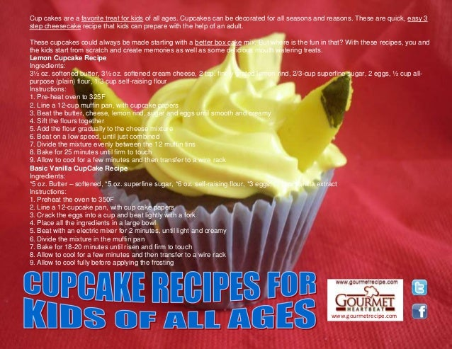 www.gourmetrecipe.com Cup cakes are a favorite treat for kids of all ages. Cupcakes can be decorated for all seasons and r...