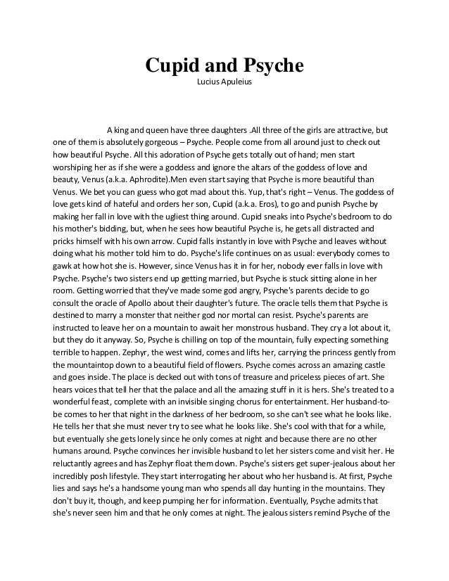the characters of the myth cupid and psyche The mythology study guide contains a biography of edith hamilton, literature essays, quiz questions, major themes, characters, and a full summary and analysis of the.