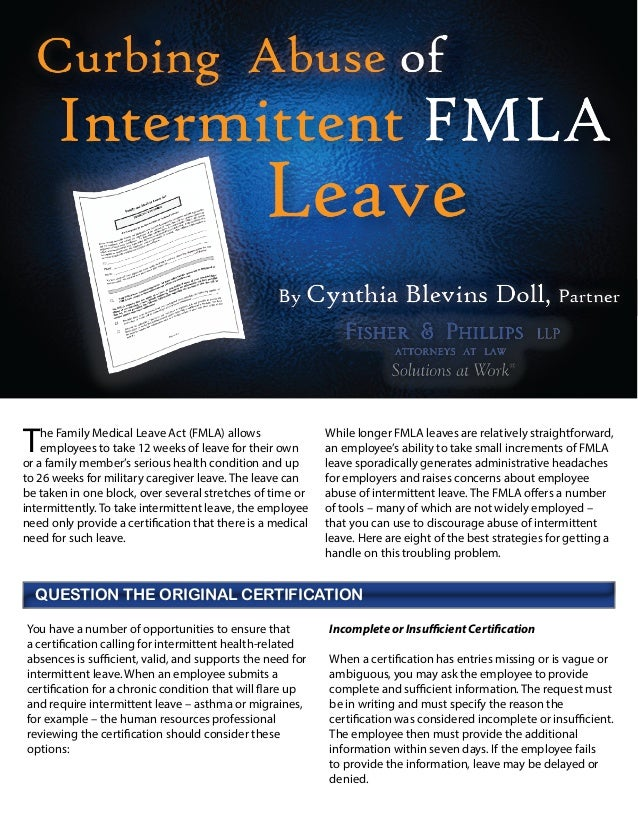 HospitalityLawyer.com | Curbing Abuse of Intermittent FMLA Leave (Cynthia Blevins Doll, Fisher & Phillips)