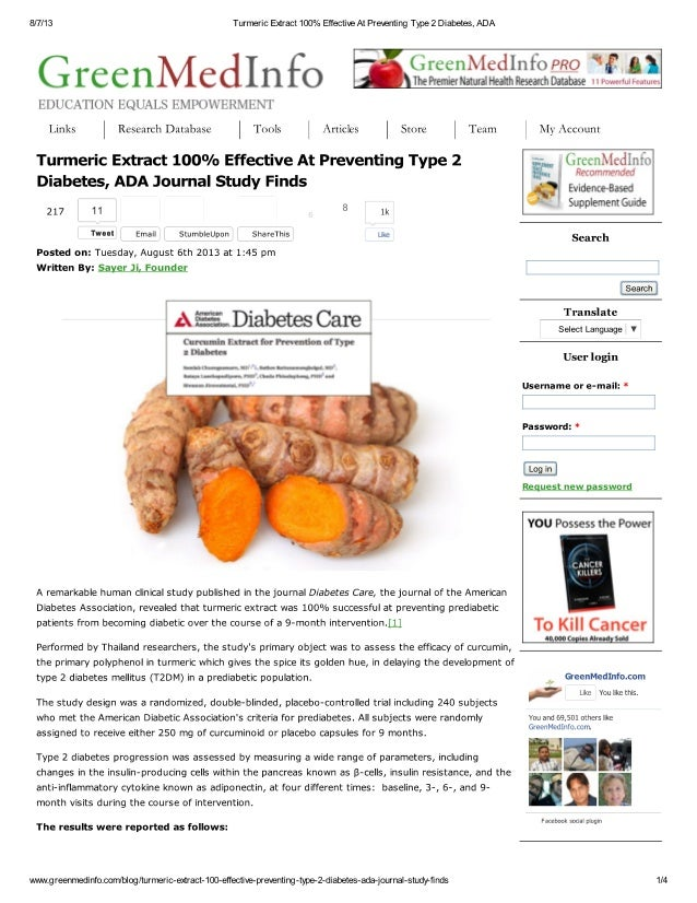 Curcummin 100 % effective for Type 2 Diabetes Prevention