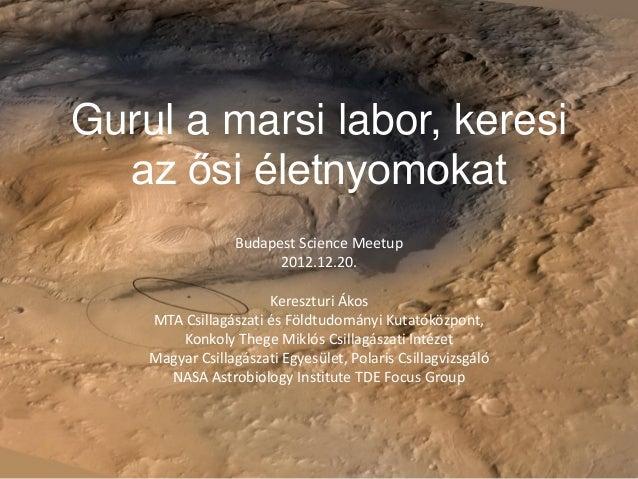 Gurul a marsi labor, keresiaz ősi életnyomokatBudapest Science Meetup2012.12.20.Kereszturi ÁkosMTA Csillagászati és Földtu...