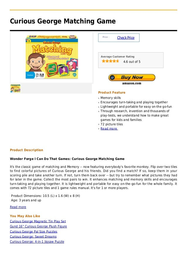 Curious George Matching Game                                                                Price :                       ...
