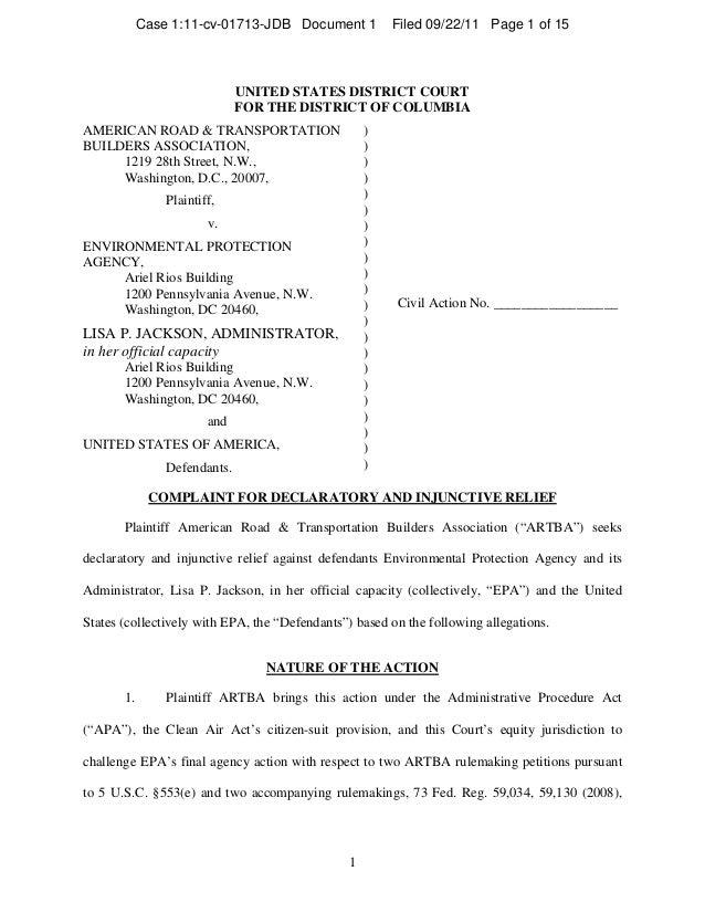 09/22/11: ARTBA District Court Complaint