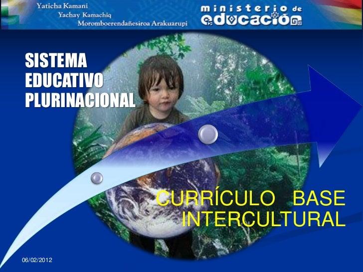 SISTEMAEDUCATIVOPLURINACIONAL                CURRÍCULO BASE                  INTERCULTURAL06/02/2012