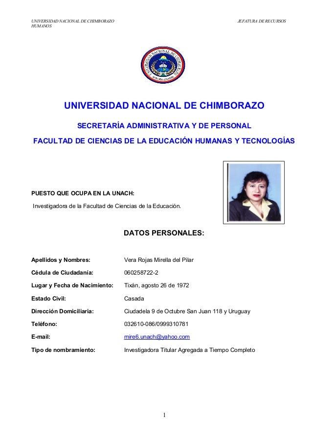 UNIVERSIDAD NACIONAL DE CHIMBORAZO JEFATURA DE RECURSOSHUMANOSUNIVERSIDAD NACIONAL DE CHIMBORAZOSECRETARÍA ADMINISTRATIVA ...