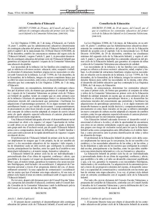 Num. 5734 / 03.04.2008  55003  Conselleria d'Educació DECRET 37/2008, de 28 març, del Consell, pel qual s'establixen els c...