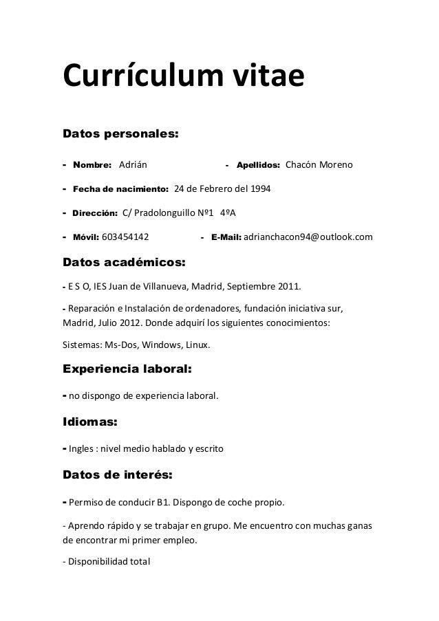 Ejemplos de resume de trabajo en ingles