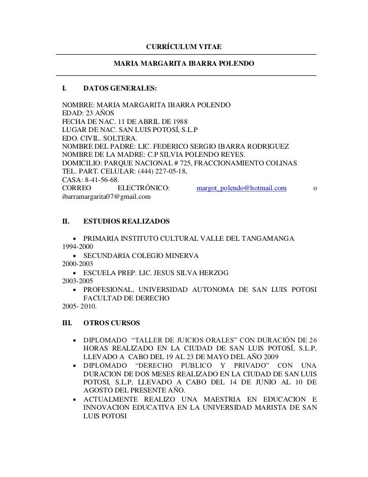 CURRÍCULUM VITAE                  MARIA MARGARITA IBARRA POLENDOI.         DATOS GENERALES:NOMBRE: MARIA MARGARITA IBARRA ...