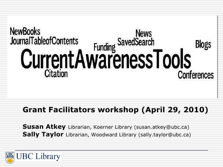 Current Awareness Tools for Grants Facilitators