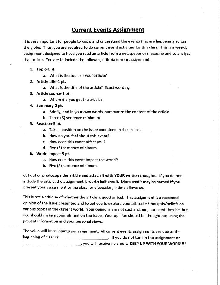 essay on a current event A current event essay will address the historical context and long term effects of a  given aspect of current happenings in the world usually such.