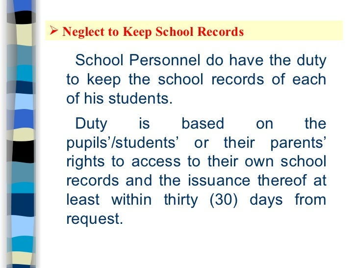 school records and their essence in The school records access law can promote children's safety and education at school and home not allowed to see or get copies of their child's school records.