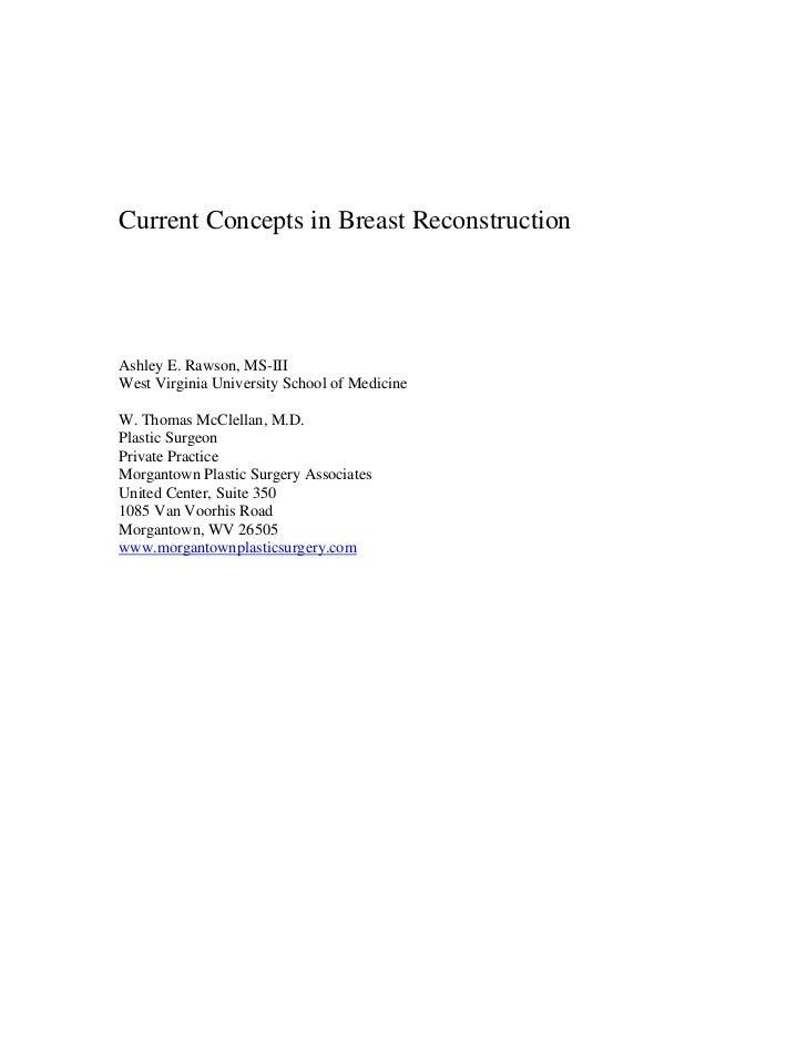 Current Concepts in Breast ReconstructionAshley E. Rawson, MS-IIIWest Virginia University School of MedicineW. Thomas McCl...