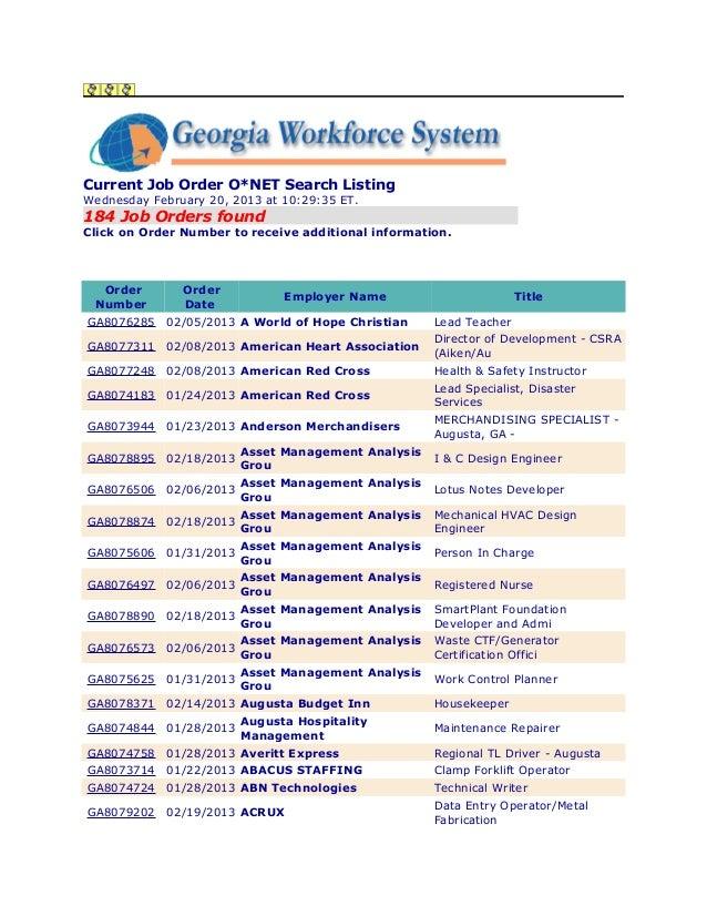 Job Listing -Augusta Career Center/20 February 2013