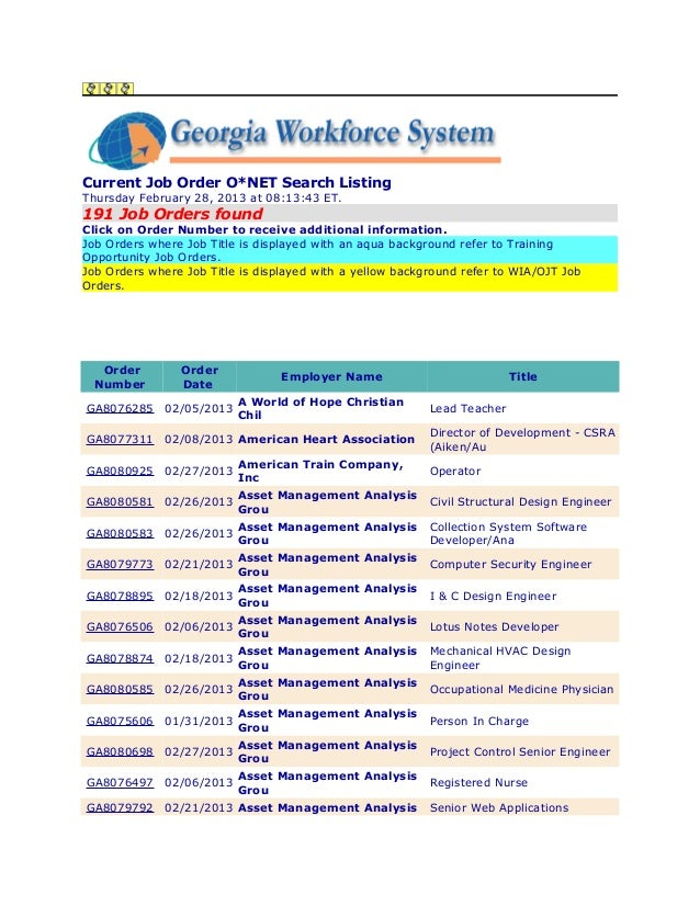 Current Job Order O*NET Search ListingThursday February 28, 2013 at 08:13:43 ET.191 Job Orders foundClick on Order Number ...