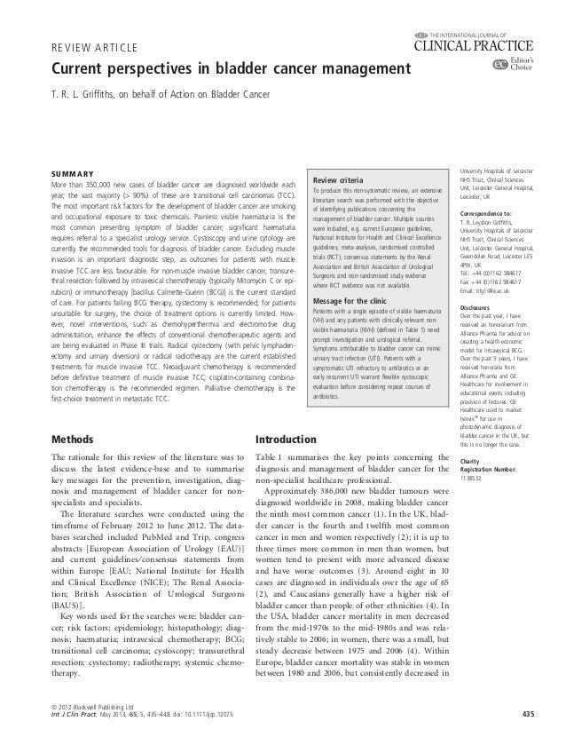 Current perspectives in bladder cancer managementT. R. L. Griffiths, on behalf of Action on Bladder CancerMethodsThe ration...