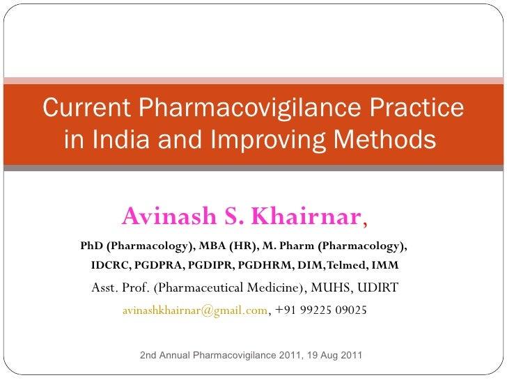 Avinash S. Khairnar , PhD (Pharmacology), MBA (HR), M. Pharm (Pharmacology),  IDCRC, PGDPRA, PGDIPR, PGDHRM, DIM, Telmed, ...