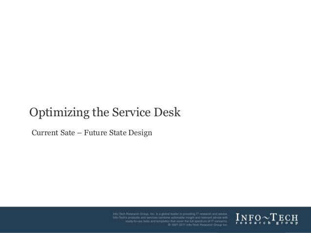 1Info-Tech Research GroupOptimizing the Service DeskCurrent Sate – Future State Design