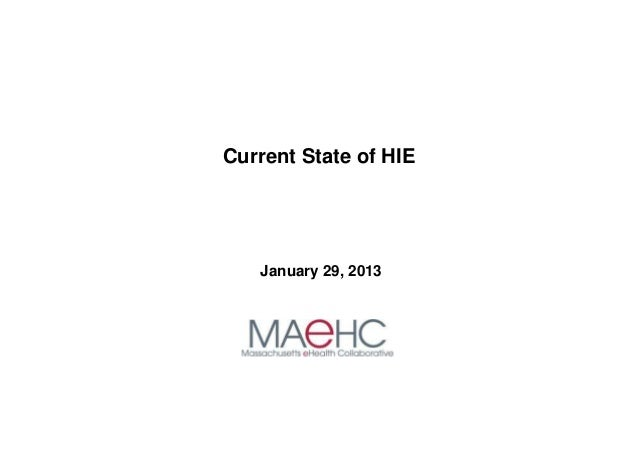 Current State of HIE   January 29, 2013