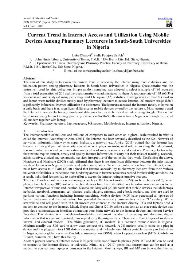 Current trend in internet access and utilization using mobile devices among pharmacy lecturers in south south universities in nigeria